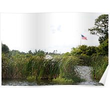 Marshlands with American flag Poster