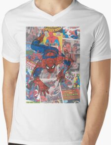 Vintage Comic Spiderman Mens V-Neck T-Shirt