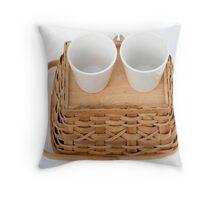 Teacups on a basket Throw Pillow