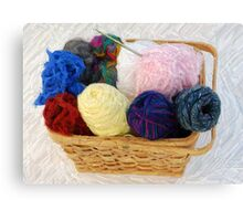 yarn in a basket Canvas Print