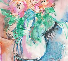 WHITE VASE WITH RED FLOWERS(C2010) by Paul Romanowski