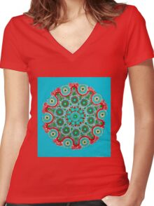 Doily Joy Mandala- Caribbean Ocean Women's Fitted V-Neck T-Shirt