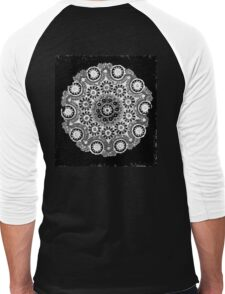 Doily Joy Mandala- Simply B/W Men's Baseball ¾ T-Shirt
