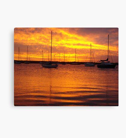Orange Boats Canvas Print