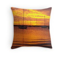 Orange Boats Throw Pillow