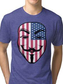 Guy Fawkes American Flag Tri-blend T-Shirt