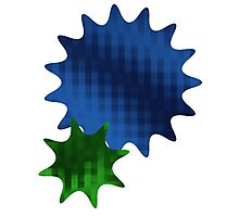 Spike Stars Blue and Green Photographic Print