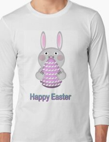 Happy Easter Bunny Rabbit with Easter Egg Long Sleeve T-Shirt