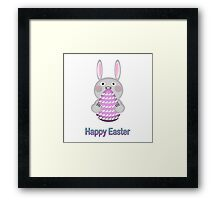 Happy Easter Bunny Rabbit with Easter Egg Framed Print