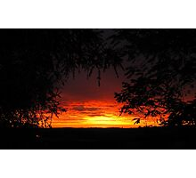 'Fire in the sky! looking across the paddocks. Adelaide Hills. Photographic Print