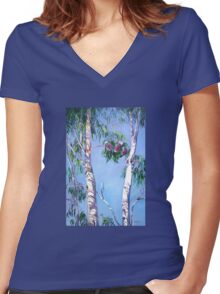 Tambo Trees with some local Residents. Women's Fitted V-Neck T-Shirt
