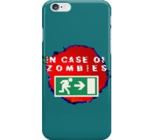 In Case of Zombies (green background) iPhone Case/Skin