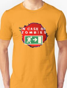 In Case of Zombies (green background) T-Shirt