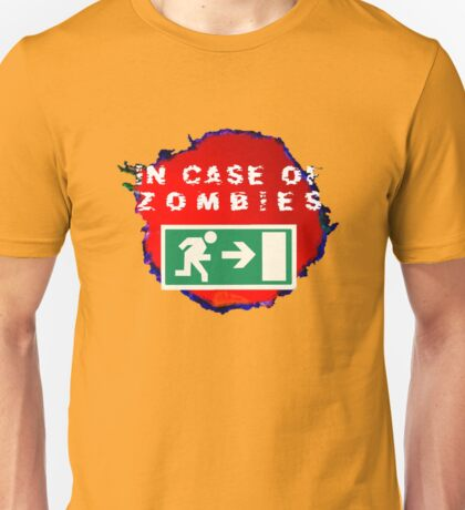 In Case of Zombies (green background) Unisex T-Shirt