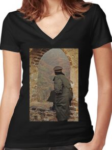 Soldier on the Great Wall Women's Fitted V-Neck T-Shirt