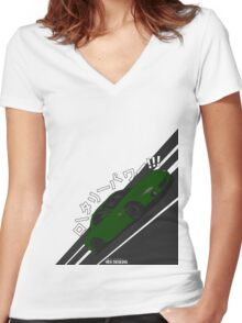 Mazda RX7 FD - Rotary Power (Green) Women's Fitted V-Neck T-Shirt
