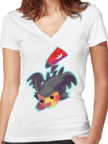 Toothless Pikachu Women's Fitted V-Neck T-Shirt