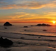 Bandon Beach Sunset by Randall Scholten