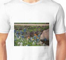 Blue and White Bonnet Flowers Unisex T-Shirt