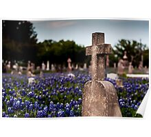 Cross in Bluebonnets Poster