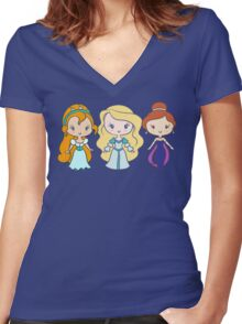 Thumbelina, Odette, and Anastasia - Lil' CutiEs Women's Fitted V-Neck T-Shirt