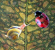 Leaf with Ladybug & Snail by Samitha Hess