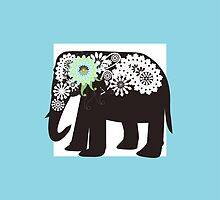 Paisley Elephant Elegant Cute Light Blue  by WindUpSprout