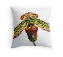 Slipper Orchid Throw Pillow