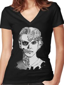Tate - Darkness Women's Fitted V-Neck T-Shirt