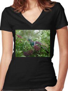 I Prefer The Elder Berries - Wood Pigeon - NZ Women's Fitted V-Neck T-Shirt