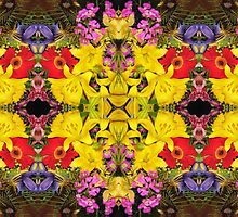 Yellow and red flower pattern by Marilyn Baldey