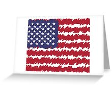 Abstract Scribble USA Flag Pattern  Greeting Card