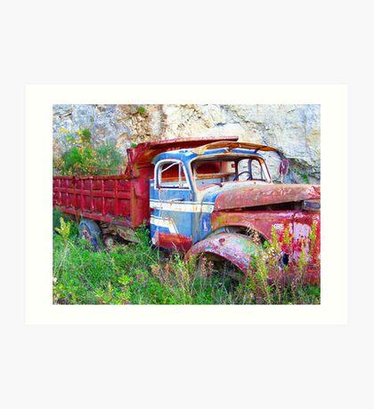 Red Truck of Benitses Corfu Art Print