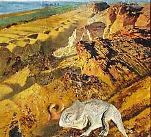 Desert Mountains with Prehistorical Animal by Heinz Sterzenbach
