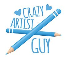 Crazy Artist Guy with blue pencils Photographic Print