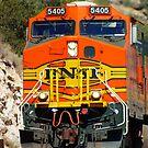 BNSF 5405 works thru Abo Canyon by JBoyer