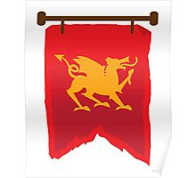 Gold rampant dragon on a field of RED banner Poster