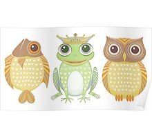 Fish Frog Owl Poster