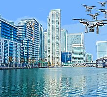 Drone swarm over the Docklands! by Tim Constable