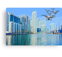 Drone swarm over the Docklands! Canvas Print