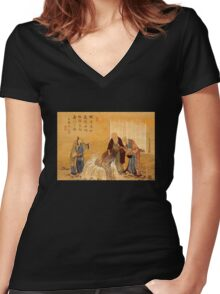 'The Thousand Year Turtle' by Katsushika Hokusai (Reproduction) Women's Fitted V-Neck T-Shirt