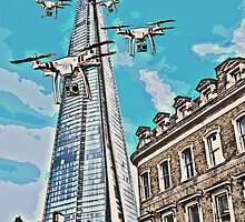 Drone swarm leaves the Shard nest! by Tim Constable