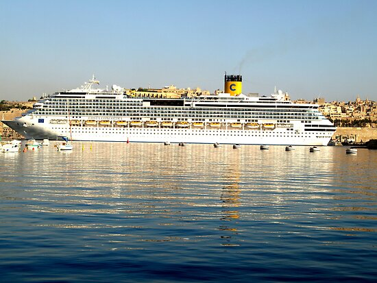 Cruise Liner in Grand Harbour Malta by DeborahDinah