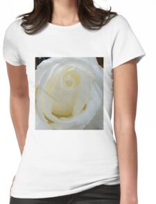 Macro of white rose Womens Fitted T-Shirt