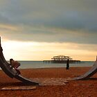Beach artwork & kids. Brighton Seafront. by fasteddie42