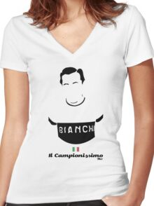 Il Campionissimo - Bici* Legendz Collection Women's Fitted V-Neck T-Shirt