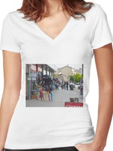 Legs in Kosovo Women's Fitted V-Neck T-Shirt