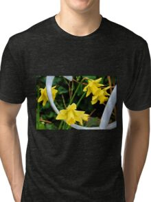 Daffodils by a gate  Tri-blend T-Shirt