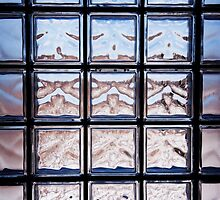 Blue toned glass brick window abstract  by Arletta Cwalina
