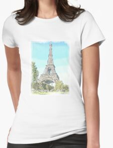 The Eiffel Tower, Paris Womens Fitted T-Shirt